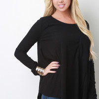 Ribbed Knit Pocket Long Sleeves High Low Babydoll Top