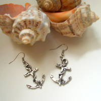 Retro silver anchor earrings