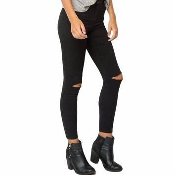 Women's Black Cutout Knee Skinny Jeans