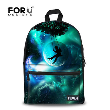 FORUDESIGN Brand 3D Galaxy Space Print School Backpack For Girls Teenager Backpack Kids Casual Children Women Travel Rucksack