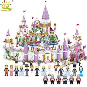 HUIQIBAO TOYS 2105pcs 5in1 Princess Castle Carriage car Building Blocks Compatible Legoed Friends House Palace Bricks For Girls