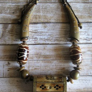 Treasure Box Necklace, Wood Jewelry