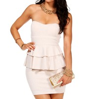 Pre-Order: White/Ivory Strapless Peplum Dress