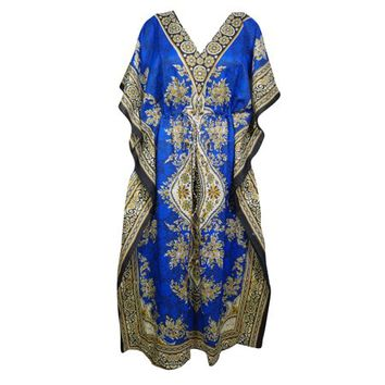 Mogul Womens Blue Printed Kimono Caftan Beach Bikini Cover Up Loungewear Holidays Dresses Free Size - Walmart.com