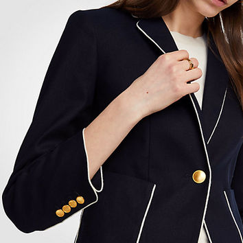 Piped Linen Blend Blazer | Ann Taylor