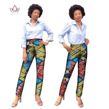 BRW Trousers Women African Print Cotton Pant Pockets Plus Size 6xl African Women Pants Casual Regular Pencil Pants WY836