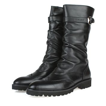 Fashion British black winter mens boots genuine leather high boots mens motorcycle boots with buckle