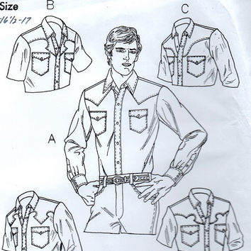Retro Sewing Pattern Men's Country Western Square Dance Shirt Shaped Yoke Long Sleeves Button Front Top Cowboy Uncut FF Multi Size