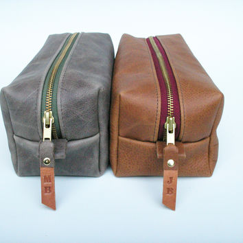 Leather Pouch / Travel Organizer- Heavy Duty Zipper- CUSTOM embossed zipper pull/Personalized Initials  Ask a Question