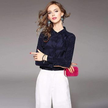 100% Silk Blouse Women Shirt Solid Ruffles Design Long Sleeves 2 Colors Office Work Top Graceful Style New Fashion 2018
