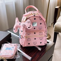 MCM Hot Sale Fashion Women's Printed Letter Three Piece Backpack