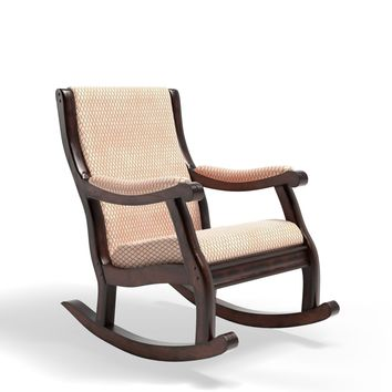 Pattison Fabric Upholstered Rocking Chair Antique Oak