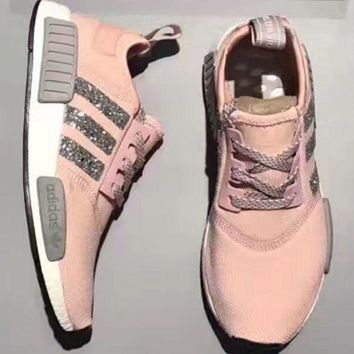 Adidas NMD individuality Sequins Fashion Trending Women Leisure Running Sports Shoes Pink G