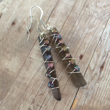 Smoky Quartz Wire Wrapped Earrings Smoky Quartz Dangle Earrings Crystal Earrings Gemstone Dangle Earrings Crystal Gemstone Earrings (E313)