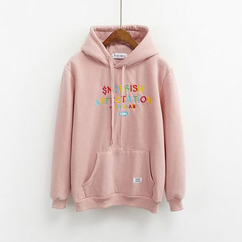 Autumn Hoodie Womens Winter Harajuku Korean Pink Hooded Sweatshirt Kawaii Rainbow Color Embroidered Letters Hoody