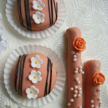 Wedding Favors Peach and Chocolate Colored Pretzel Rods and Oreo Cookies 24 of EACH