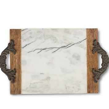 GG Collection Antiquity Marble & Wood Large Cutting/Serving Board