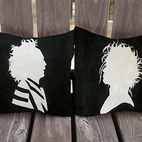 Beetlejuice Pillow, Edward Scissorhands Pillow, Tim Burton Pillows, Tim Burton, Beetlejuice, Edward Scissorhands, pillows