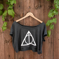 "Deathly Hallows Crop Top - In ""almost black"" - One Size - American Apparel Loose Crop T"