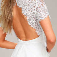 Locklyn White Lace Backless Peplum Top