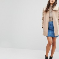 River Island Swing Coat With Removable Faux Fur Collar at asos.com