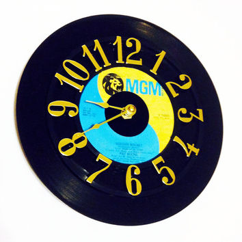 Clock, Record Clock, Vinyl Record Clock, Wall Clock, Pat Boone Record, Recycled Record, Upcycle, Battery & Wall Hanger included, Item #25