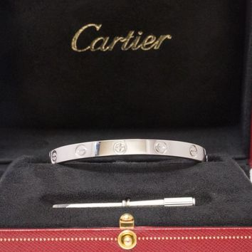 CARTIER 18k White Gold Love Bangle Bracelet Size 16 Box Certificate and Screw