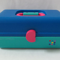 Vintage Caboodle 2802 Makeup Organizer, Caboodles  with Slide Open Inner Trays, Turquoise, Blue, Hot Pink, 1980's Vintage, Jewelry Organizer
