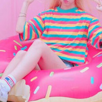 CANDY COLOR ~RED-YELLOW-BLUE~ STRIPED TEE
