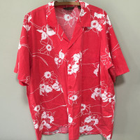 Red Hawaiian Shirt, XL Vintage Blouse, Short Sleeve Hawaiian Floral Shirt, Plus Size Vintage Shirt, Red Tiki Blouse, Tropical Shirt Hibiscus