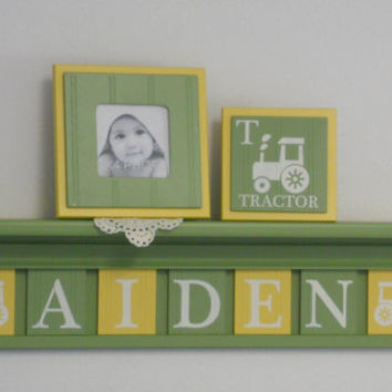 Tractor Nursery Decor, Yellow and Green Farm Wall Artwork, Letter Plaques Personalized with AIDEN - Tractor Art Baby Boy Nursery Shower Gift