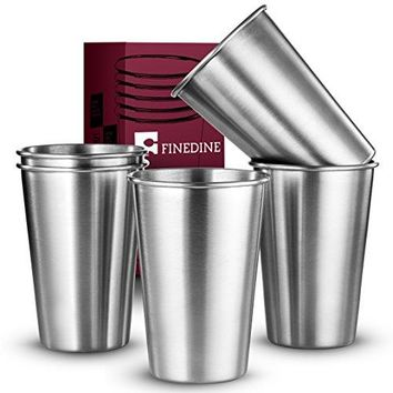FineDine Premium Grade Stainless Steel Pint Cups Water Tumblers 5 Piece Unbreakable Stackable Brushed Metal Drinking Glasses Chilling Beer Glasses for Travel Outdoor Camping amp Everyday 16 Oz