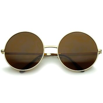 Super Large Oversize Slim Temple Round Sunglasses 61mm