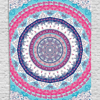 Ethnic Tribal Indian Nepal Bohemian Hippie Hippy Yoga Zen Circle Pattern Life Cycle Mandala Digital Printed Tapestry Wall Art Hanging Wall Tapestry Living Room Bedroom Decor, Fuchsia Blue Navy White