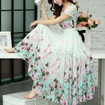 Free Shipping High Quality Bohemian Style Fashion Puff Sleeve Flower Printed Short Sleeve Chiffon Long Dress