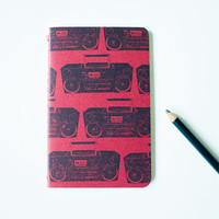 Boombox diary,  pocket moleskine music journal, hipster stocking stuffer