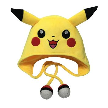 Pikachu Warm Soft Hat Pokemon Pom Pom Winter Hat For Men Women Plush Cartoon Animal Cap Boys' Girls' Hats With Ears Skullies 75z