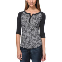 Empyre Girls Knox Black & Grey Floral Print Henley Shirt at Zumiez : PDP