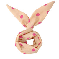 Light & Hot Pink Vintage Polka Dot 50's Headband Rabbit Ear Wire Chiffon Tie Twist Hairband Hair Band Bow Accessory