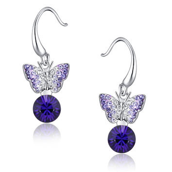 Sleeping Butterfly Round Austrian Crystal Drop Earrings - Purple