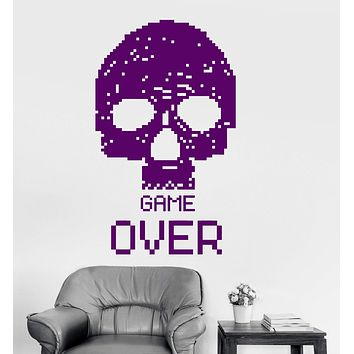Vinyl Wall Decal Gamer Skull Pixel Video Games Playroom Stickers Mural Unique Gift (053ig)