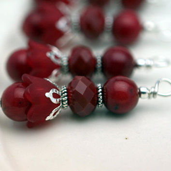 Baby Bell Lucite Flower in Red and Red Agate Bead Dangle Charm Drop Set - 4 Piece Set