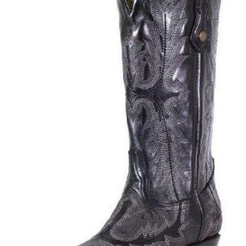 ICIKAB3 Corral Black Picasso Fancy Stitched Snip Toe Boots G1911