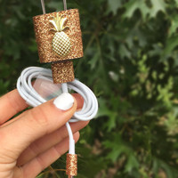 Gold sparkly pineapple Iphone 5 5c 6 6s charger