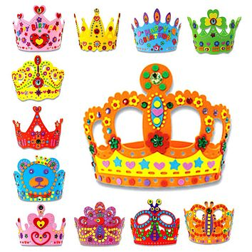 Kids Toys 3D EVA Handmade Birthday Crown DIY Hat Princess Crown Design Craft Kits Craft Puzzle Toy Birthday Party Decoration