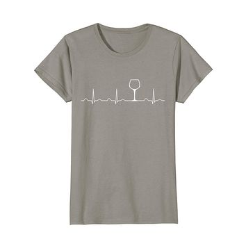 Wine Heartbeat Shirt -Funny Cute Wine Glass Lover Gift