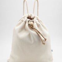 "Cotton Natté Rucksack With ""Metallic"" Leather Details by Brunello Cucinelli"