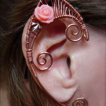 Pair of Copper Woven Wire Elf Ear Cuffs with Pink Resin Roses and Copper Leaves Renaissance, Elven Ears, Halloween Costume Earrings