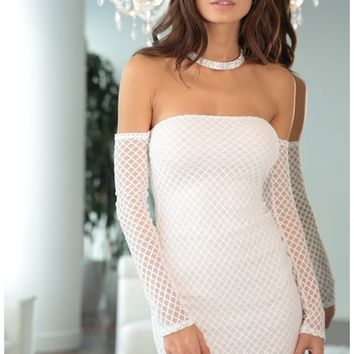 Party dresses > Gabriella Lace-Up Dress In Ivory