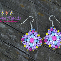 Pink Purple Earrings, Beadwoven Jewelry, Beads Crystals, Pastel Colors, Yellow Hot Pink, Fashion Jewelry, Girly Rosy Baby Blue, Cotton candy